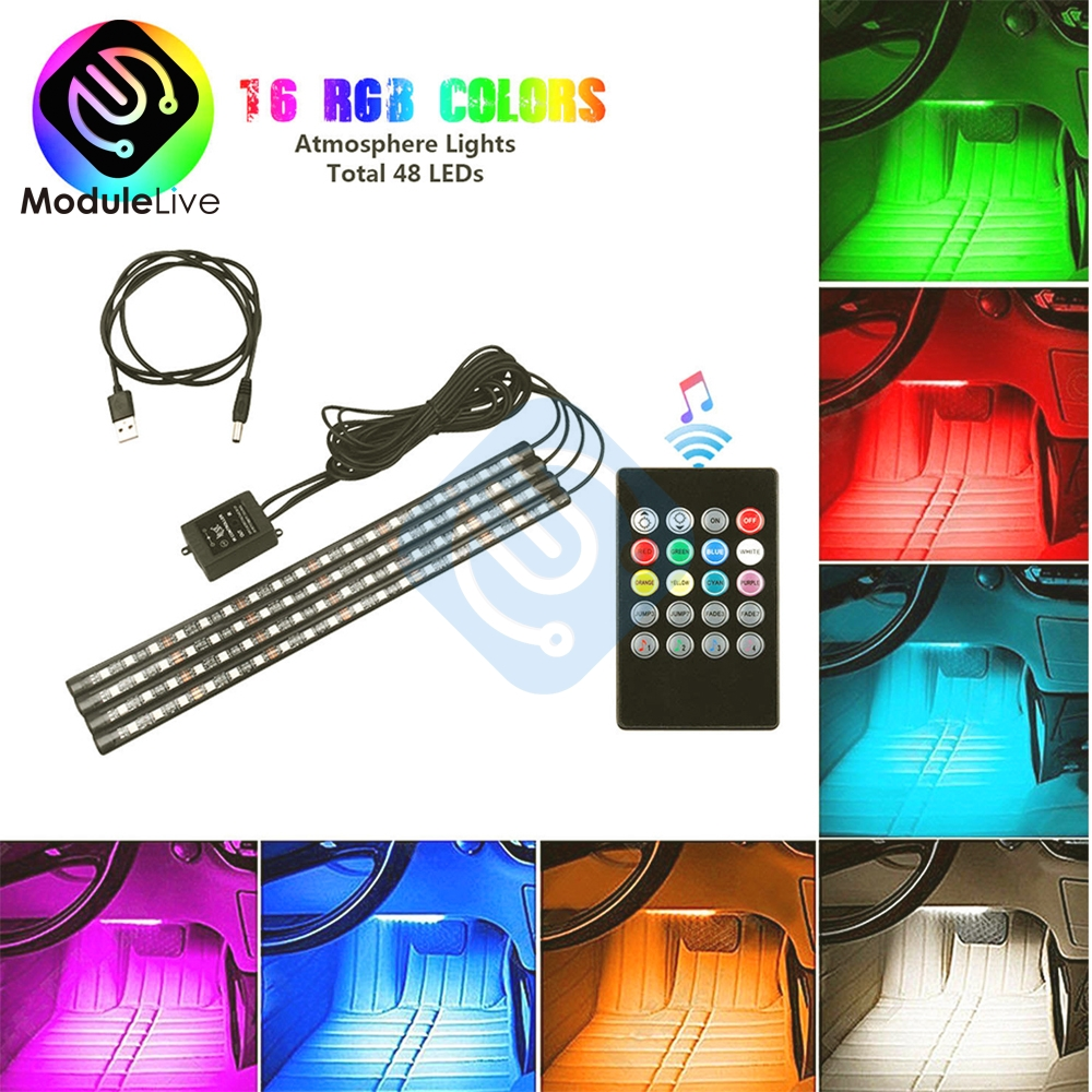 Auto Interni 4pcs 48 LED Remote Control Sound Lighter Colorful RGB Car Interior Floor Light Strip Light For Atmosphere DC 12V