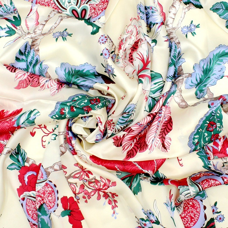 Silk Fabrics For Dresses Blouse Scarves Clothing Meter 100% Pure Silk Satin Charmeuse 16 Mill Printed Peony Floral High-end