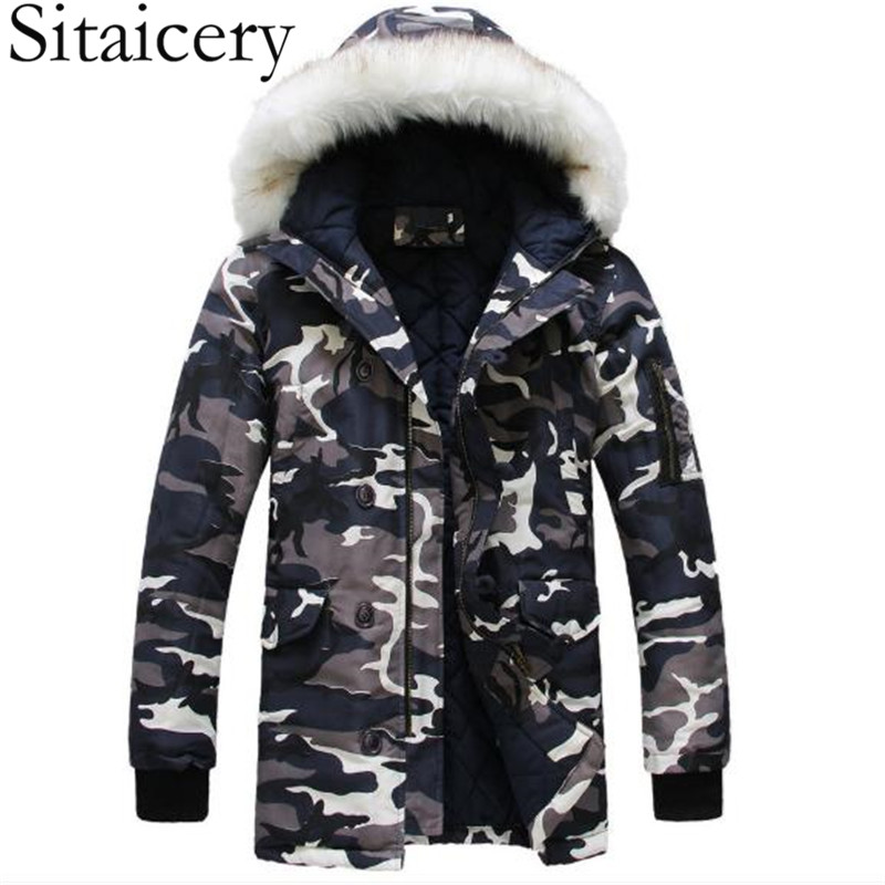 Sitaicery New Men Winter Padded Coat Padding Jacket S-5XL With Zip Hooded Outerwear Windproof White Duck Down Pad