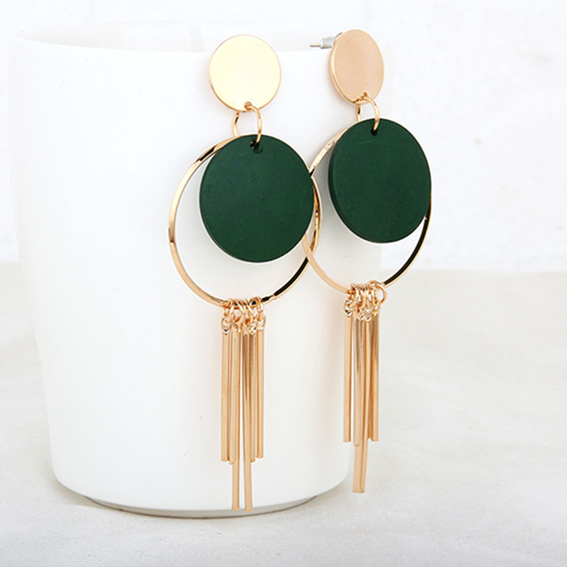 Gold Color twist ring Long Tassel Pendant Hollow out Geometric Earrings Personality Trend Prevent Allergy quality Women ear nail
