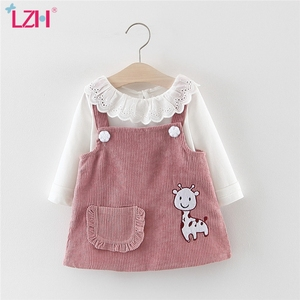 LZH 2020 New Autumn Baby Casual Two-piece Sets T-shirt+Strap Dress For Baby Girls Princess Dress Newborn Clothes Infant Dress