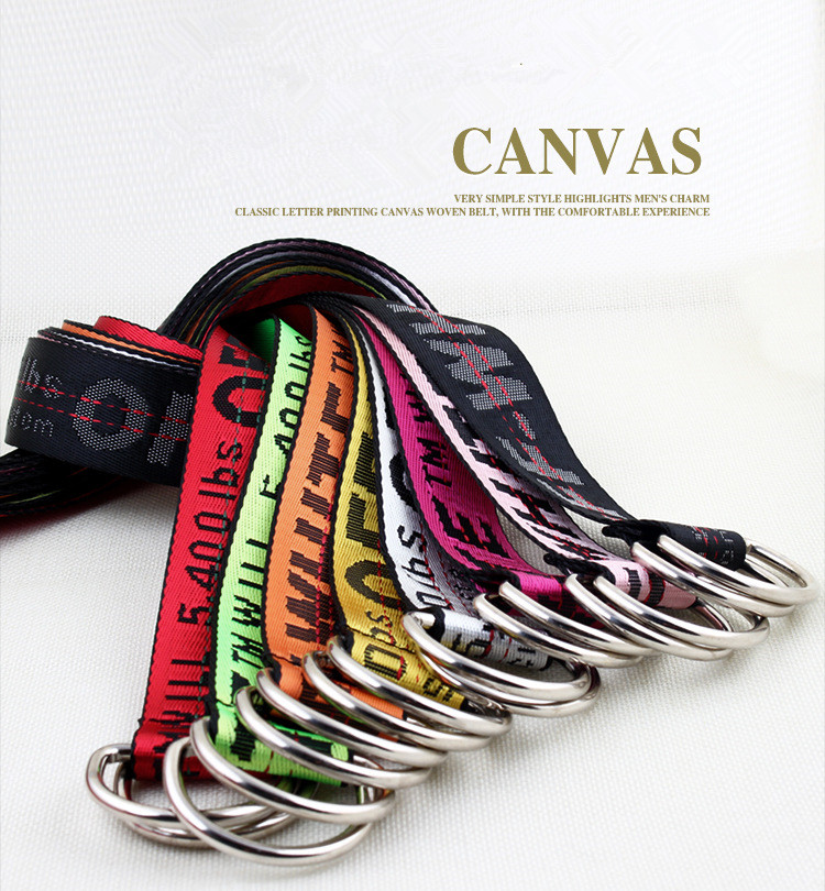 TagerWilen Belt Style Letters Printed Fashion Unisex Double D Ring Canvas Strap Long Jeans Belts For Women Men Canvas Belt