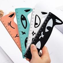 1 Pcs Cute Kawaii Black Cat Kitten Straight Ruler Wooden Tools Cat Paw Cartoon Sewing Drawing Office School Stationery Supplies