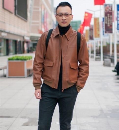 Free Shipping.high Grade Horseskin Leather Jacket.man Claccic A2 Style Genuine Leather Coat,vintage Fans,Fetal Bovine Skin