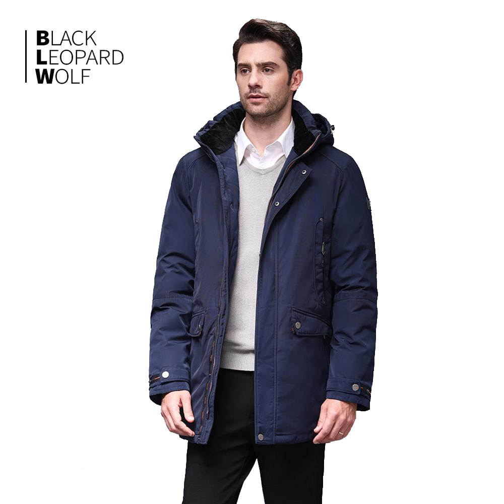 Blackleopardwolf New Winter Jacket Men's Fashion Coat High Quality Parker Coat Zip Down BL-1052