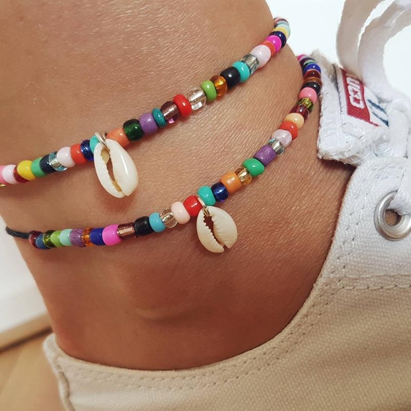 Bohemian Colorful Seed Beads Shell Anklets for Women Summer Ocean Beach Beads Ankle Bracelet Foot Leg Bracelets boho Jewelry