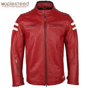 Image 1 - オートバイの革のジャケット男性 100% 本物の牛革革natrualスキンコートの男性スリムフィット爆撃機バイカーレザージャケットコート秋M218