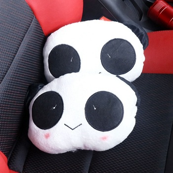 Auto Head Rest Mat Pillow Automobile Interior Accessories Lovely Cute Panda Car Headrest Pillow Neck Rest Support Cushion Pad image