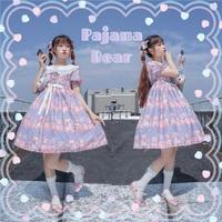 The flower ni full booking pajamas bear OP original lolita dresses with short sleeves little lolita dress skirt