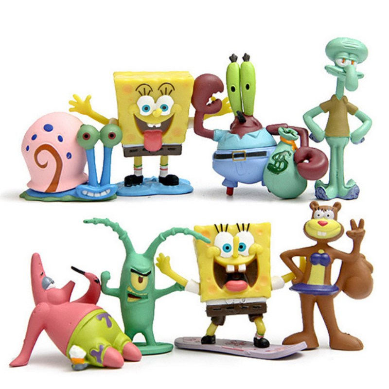 Figuras de acción de Bob Esponja, modelo manual de acción de juguete de Bob Esponja, muñecos clásicos de vinilo para regalo de Chico, versión Q 6/8 Uds.