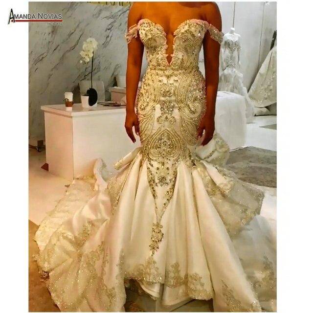 Novo modelo cetim sereia vestido de casamento com trem destacável