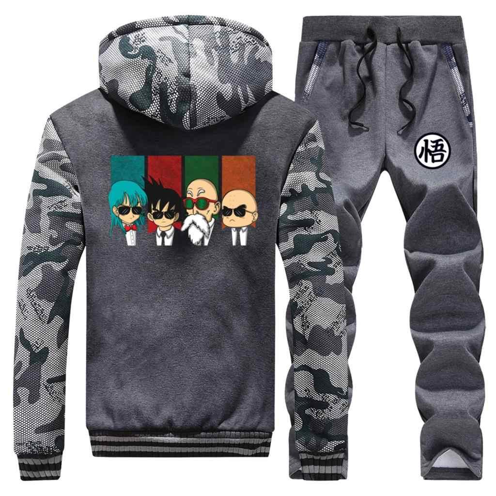 Männer Winter Zip Jacke + Hosen 2 Stück Sets Anime Dragon Ball Dicken Hoodie sweatshirt lustige Hip Hop Trainingsanzug Neue design Hoodies