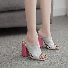 Crystal Sandals Nightclub Shoes Slippers Pink Heels Thick Sexy Women's LTARTA Djf-Lzlz-27