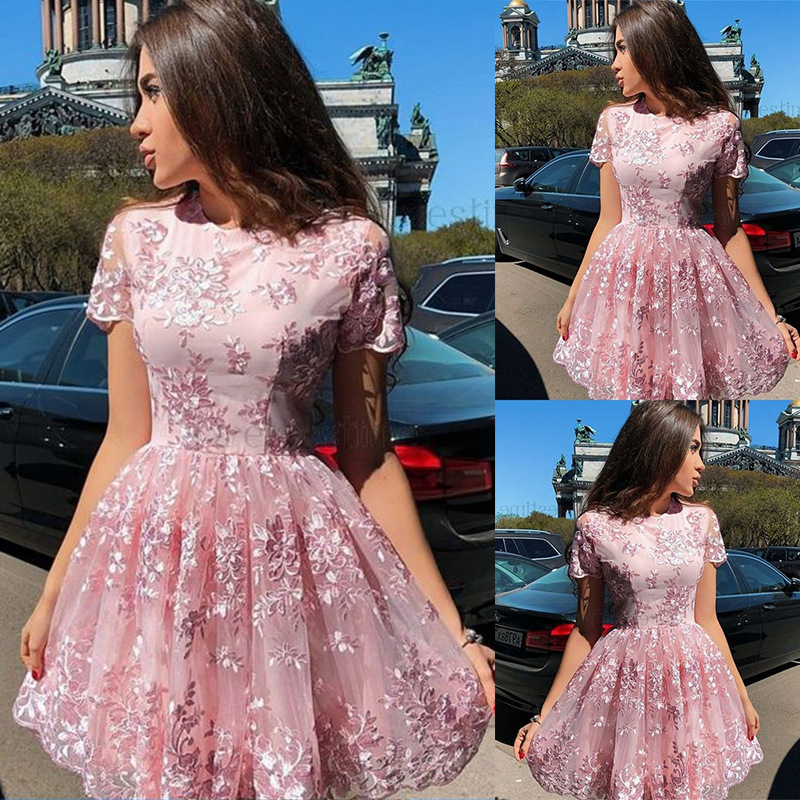 Blush Pink   Cocktail     Dresses   Short Lace Appliques Party   Dress   Homecoming Gown Real New Fashion Hot Sale   Dress