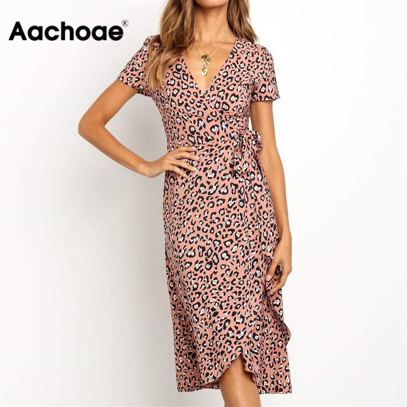 Aachoae Summer Leopard Dress 2020 Women Long Wrap Beach Dress Sexy V-neck Short Sleeve Bodycon Party Dress Sundress Vestidos