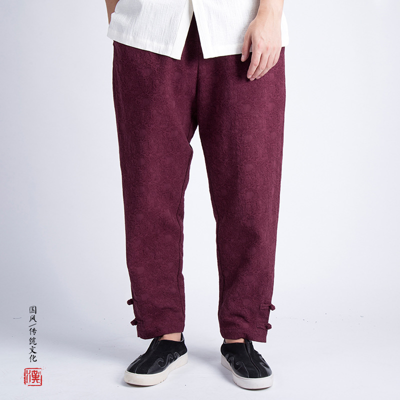 Chinese-style MEN'S Trousers Chinese Style Flax Casual Pants Chinese Costume Cotton And Linen Pants Large Size Loose-Fit Frog Wi