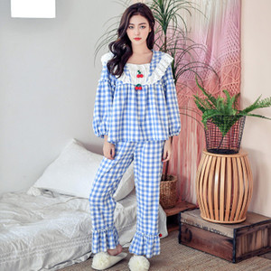 Image 4 - Pijamas de cuadros escoceses para mujer, ropa de dormir de algodón de princesa dulce, Sexy de encaje de manga larga, conjunto de 2 unidades para casa