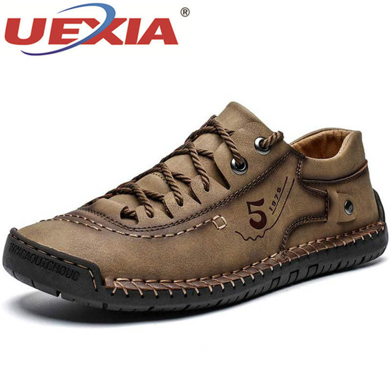 UEXIA 2020 New Spring Men's Shoes Lace-up Outdoor Casual Handmade Sewing Quality Split Leather Loafers Flats Moccasins Footwear