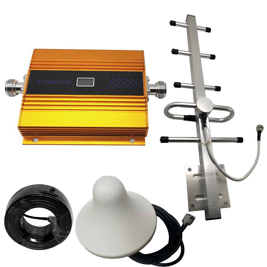 3G Ripetitore 2100MHz Repeater LCD WCDMA 2100 MHZ Mobile Phone Mini Booster  Cell Phone Amplifier + Antenna +cable, Full Set