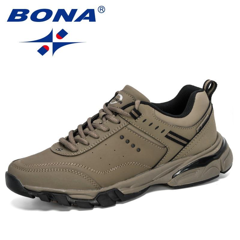 BONA 2020 New Designers Sport Shoes Cow Split Sneakers Men Running Shoes Man Outdoor Jogging Walking Shoes Male Trendy Footwear