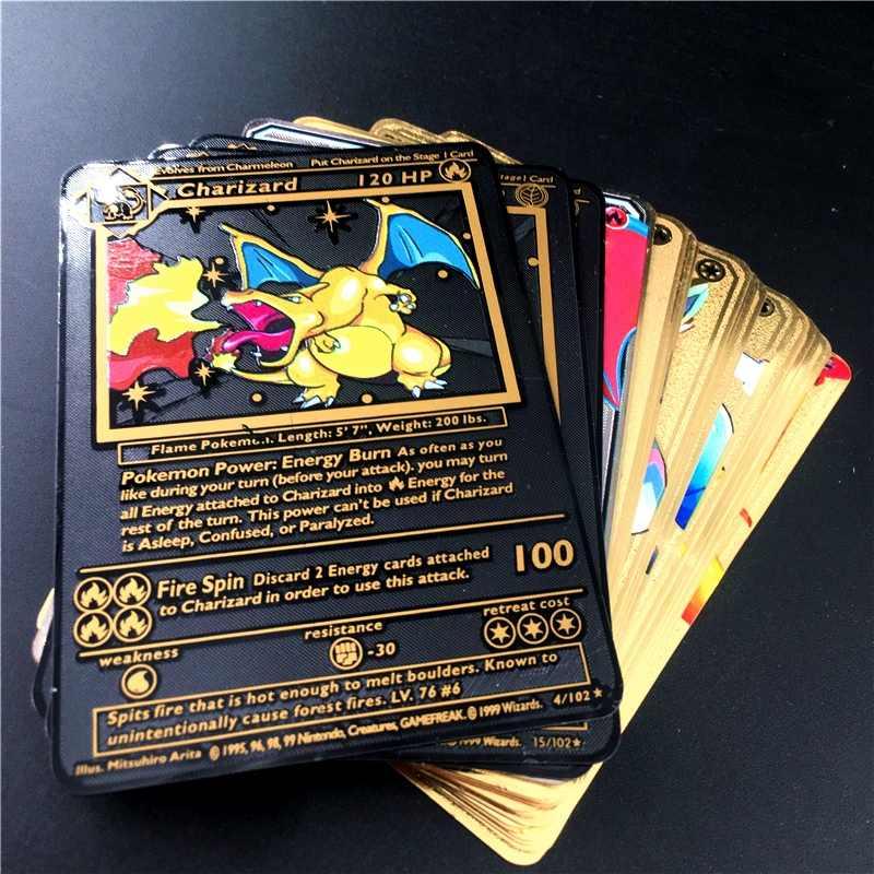 TAKARA TOMY Pokemon metalowy na kartę gra Anime bitwa karta złota Charizard Pikachu kolekcja karta model postaci zabawka dziecięca prezent