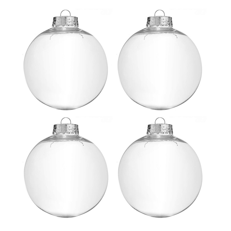 Clear DIY Baubles Shatterproof Seamless Plastic XMAS Ball Home Tree Decor Gift - 60Mm QTY:4