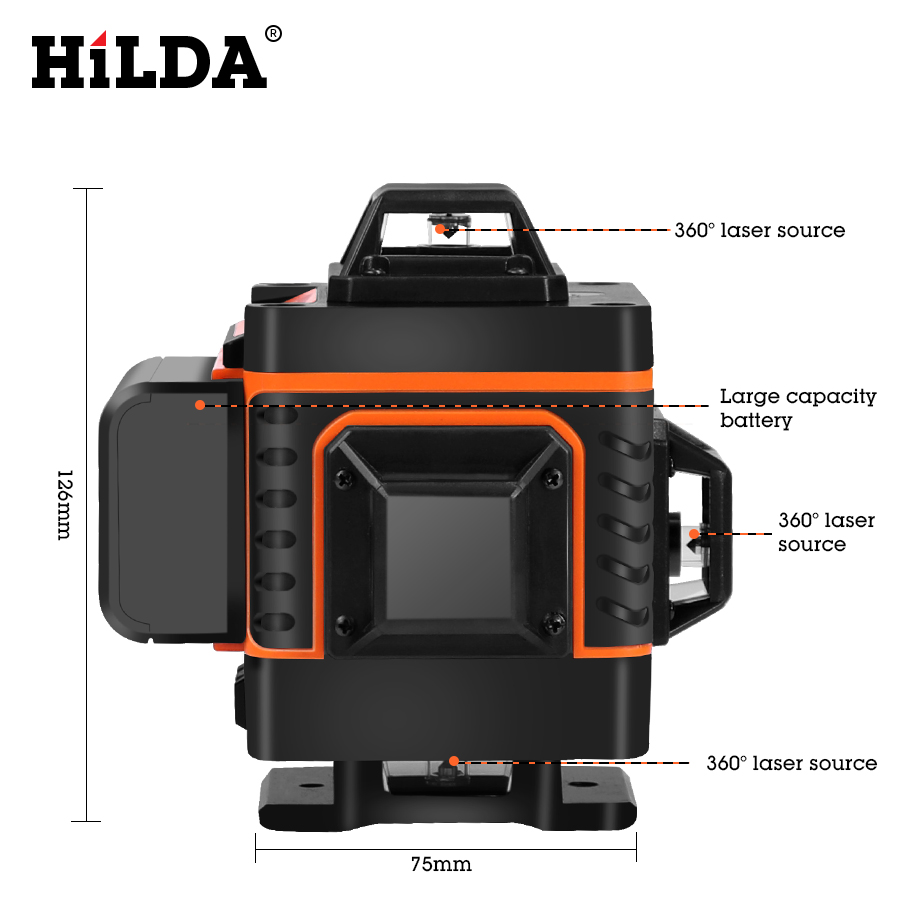HILDA 16 Lines 4D Self Leveling Laser Level with Buzzing Alarm for Indoor and Outdoor Use 2
