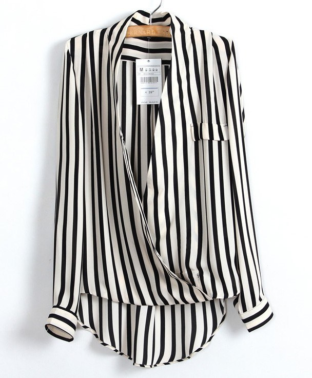 Handsome Fashion Zaraing Casual Striped Irregular Women's Shirt Shirt
