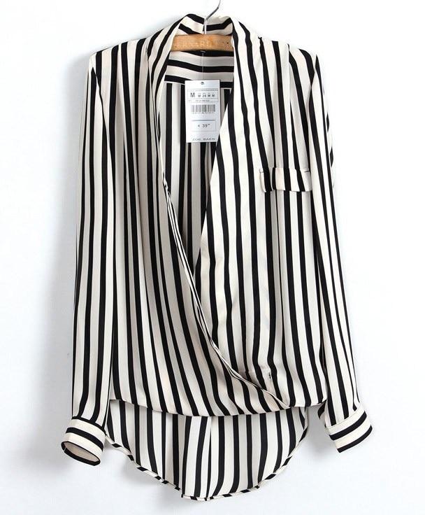Handsome Fashion Zaraing Casual Striped Irregular Women's Shirt Shirt