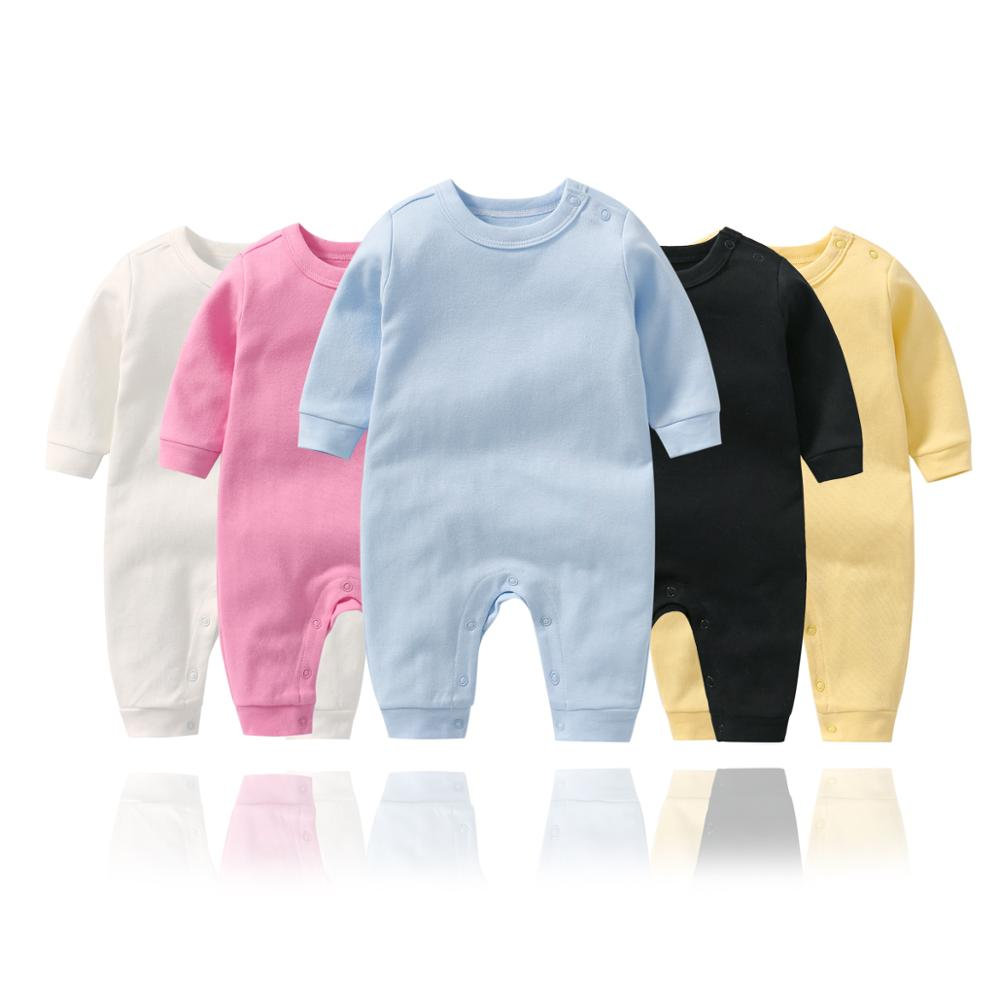 Newborn baby jumpsuit Solid Color baby girl Long Sleeves   romper   Baby boy Cotton Long   romper