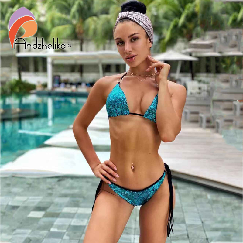 Andzhelika Bikini Sexy Sequins Bikini Set Women Swimsuit Summer Solid Swimwear Bathing Suit Beach Wear Monokini Female