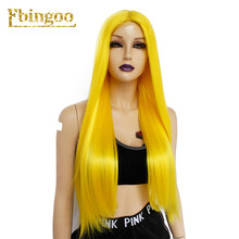 Ebingoo Black Orange Pink Purple Yellow Wig Long Straight Futura Synthetic Lace Front Wigs for Women Peruca Middle Part 26 Inch