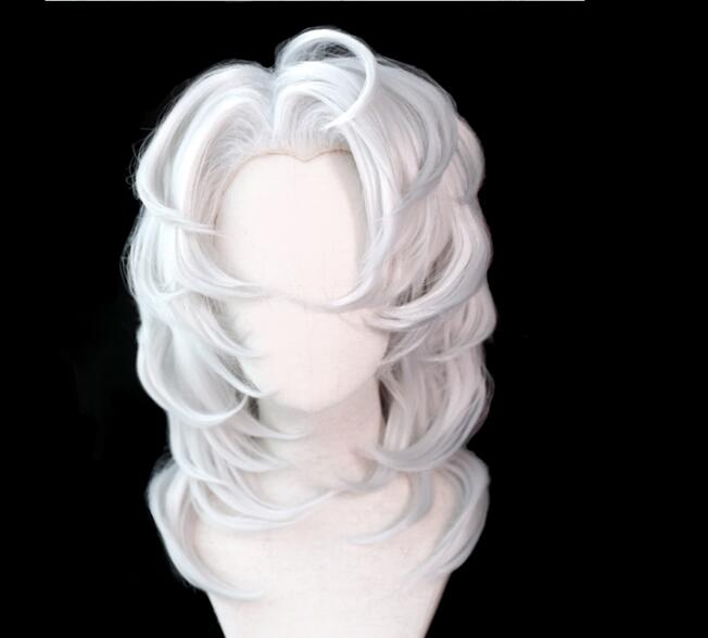 Demon Slayer Kimetsu No Yaiba Ayaki Rui Cosplay Wig Spider Silver Long Straight Synthetic Hair for Adult Halloween+ Free Wig Cap