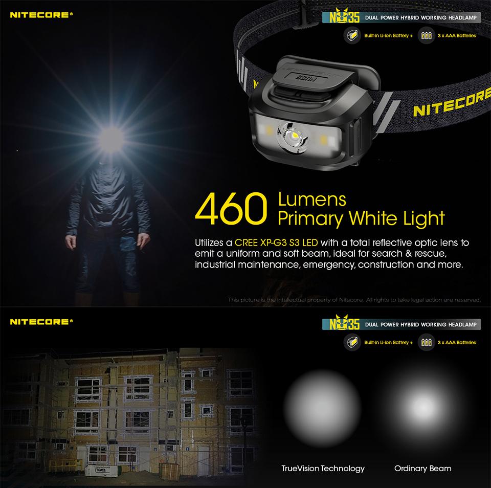 NITECORE NU35 LED Rechargeable Headlamp, headlight, lampu kepala, lampu suluh, head band, hiking lamp, camping, cahaya