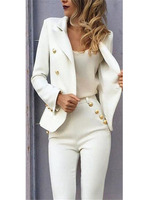 White Slim Fit Pant Suits Jacket+Pants Women Business Suits Blazer Formal Ladies Office Uniform Style Female Trouser PantSuit