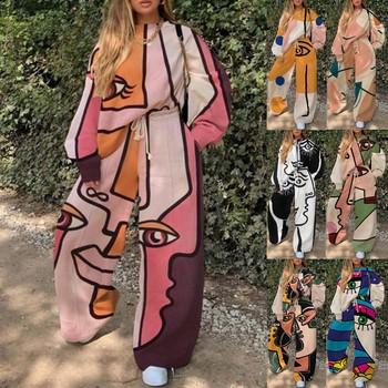 2020 moda damska zestawy utrzymać ciepłe zimowe damskie drukowane długim rękawem topy + długie spodnie 2 sztuka zestaw tanie i dobre opinie ISHOWTIENDA CN (pochodzenie) Zima REGULAR Kolan Osób w wieku 18-35 lat O-neck Elastyczny pas COTTON Swetry Na co dzień
