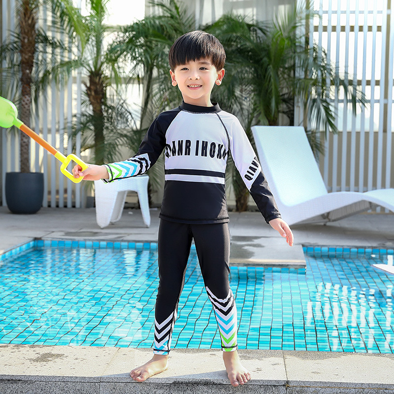 KID'S Swimwear Students Split Type Cute Cartoon Sports Swimming Trunks Male Baby Big Boy Teenager Students Tour Bathing Suit