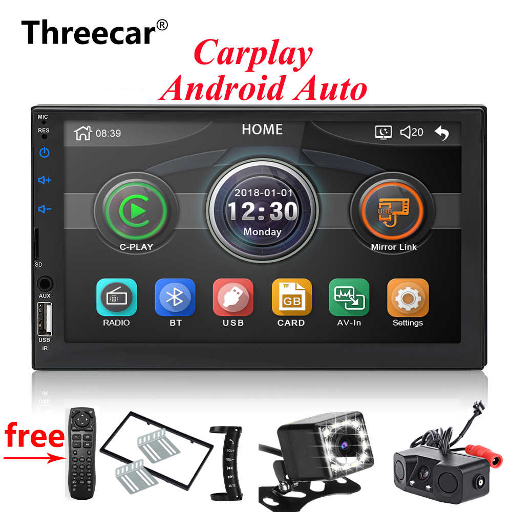 2din Car radio 7'' Carplay Mirror link Android Auto Multimedia Player Bluetooth USB FM Rear View Camera MP5 Player Double Din