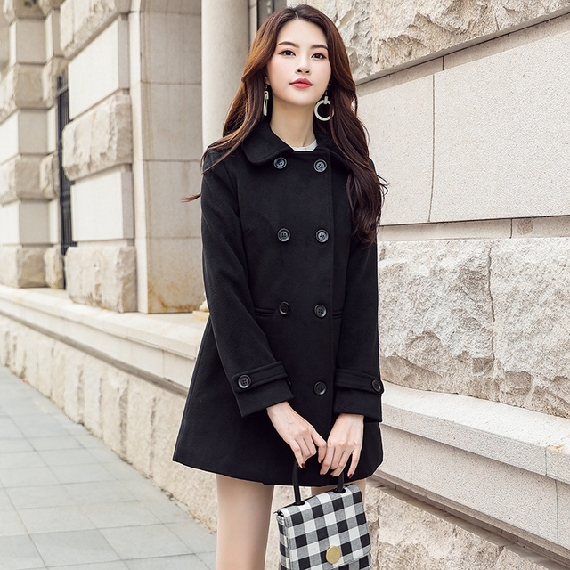 Machen woolen tuch mantel weibliche in han-ausgabe qiu dong lange Hepburn wind lockerung sprat sen ist eine pelzmantel