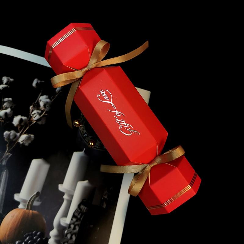50 pcs/lot bonbons en forme d'emballage boîte avec ruban cadeau de mariage boxe bricolage anniversaire noël décor bonbons boîte fête fournitures