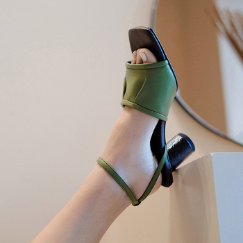 Women Shoes New Brand Genuine Leather Summer Sandals Shoes for Woman Sexy High Heels Green Apricot Dress Party Shoes Size 34-39