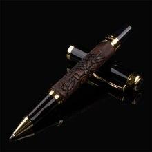 Stylo à bille à roulettes en cuir rouge foncé et noir, marque de luxe, classique, papeterie, offre spéciale