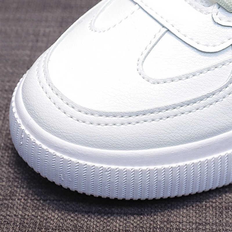 SWQZVT, zapatillas de deporte de verano y otoño para mujer, zapatos planos transpirables con cordones para mujer, zapatos vulcanizados de cuero blanco para caminar, zapatos casuales para mujer, 2020