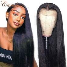 С прямыми Синтетические волосы на кружеве человеческих волос парики 180% Плотность предварительно вырезанные 13x4 бразильские прямые волосы С...