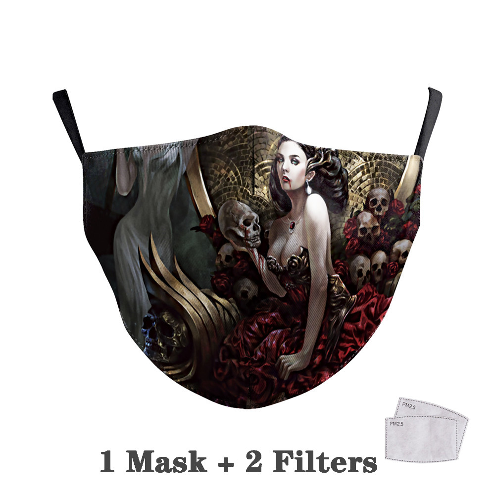 Washable Big Mouth Skull Face Masks 34