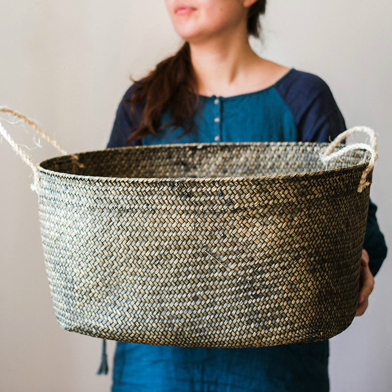 54cm Large hand-woven Laundry basket Bathroom storage box storage basket home Decoration crafts for Natural seagrass