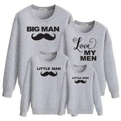 Pequeno grande homem de família combinando roupas pai mãe filho filha mamãe e me algodão engraçado camisola hoodies do bebê da menina do menino kid