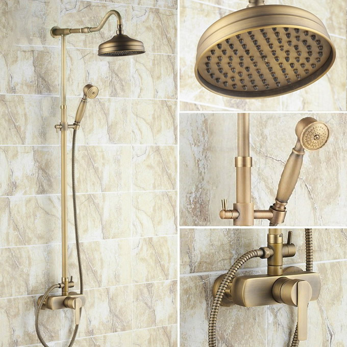 Vintage Retro Antique Brass Single Handle Bathroom 8 Inch Round Rain Shower Faucet Set Bath Mixer Tap Hand Shower Mrs203