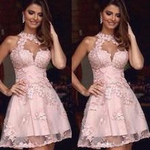 Elegant 2019 Homecoming Dresses A-line Halter Short Mini Tul