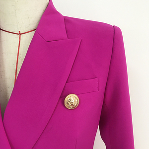 Image 4 - Yüksek sokak 2020 yeni tasarımcı Blazer kadın kruvaze aslan düğmeler Slim fit muhteşem mor Blazer ceket